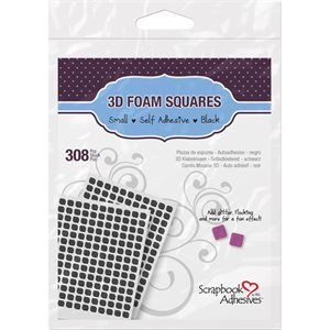 "3D Self-Adhesive Foam Squares 308 / Pkg black, .25""X.25"""