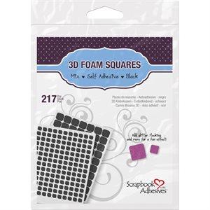 """3D Foam Sqaures Variety Pack 217 / Pkg Black (63) .5""""X.5"""", (1"""