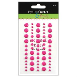 Eyelet Outlet Adhesive-Back Enamel Dot 60 / Pkg Dark Pink